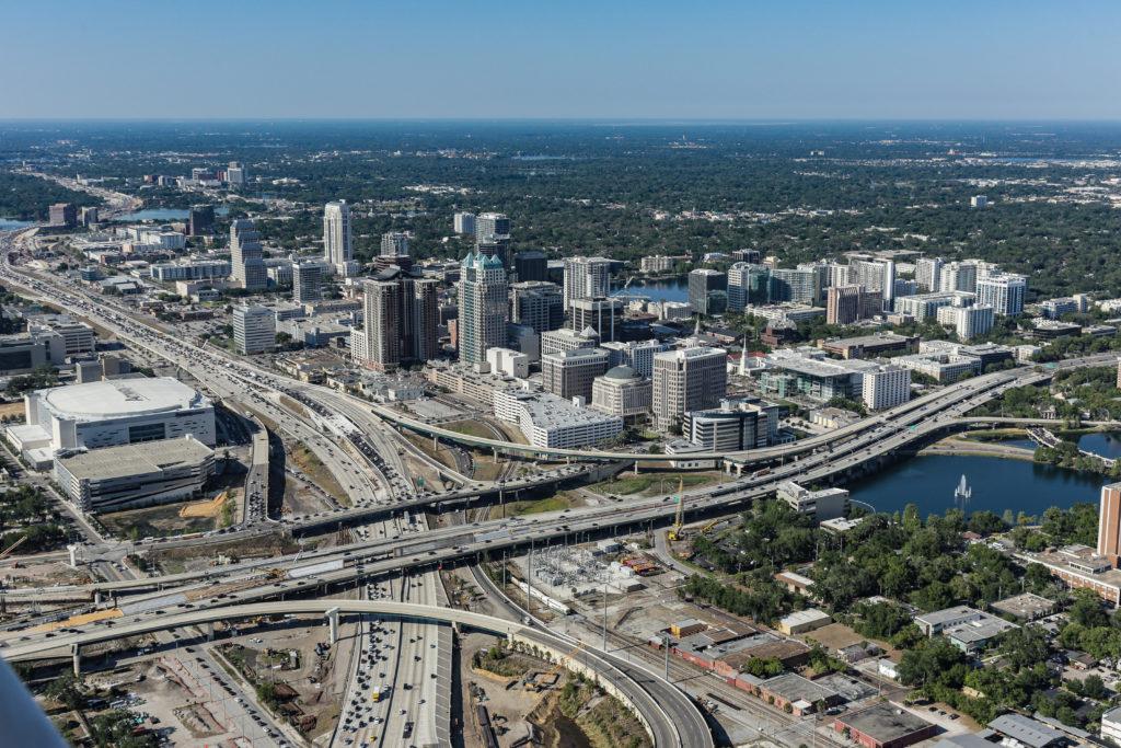 Orlando aerial view city